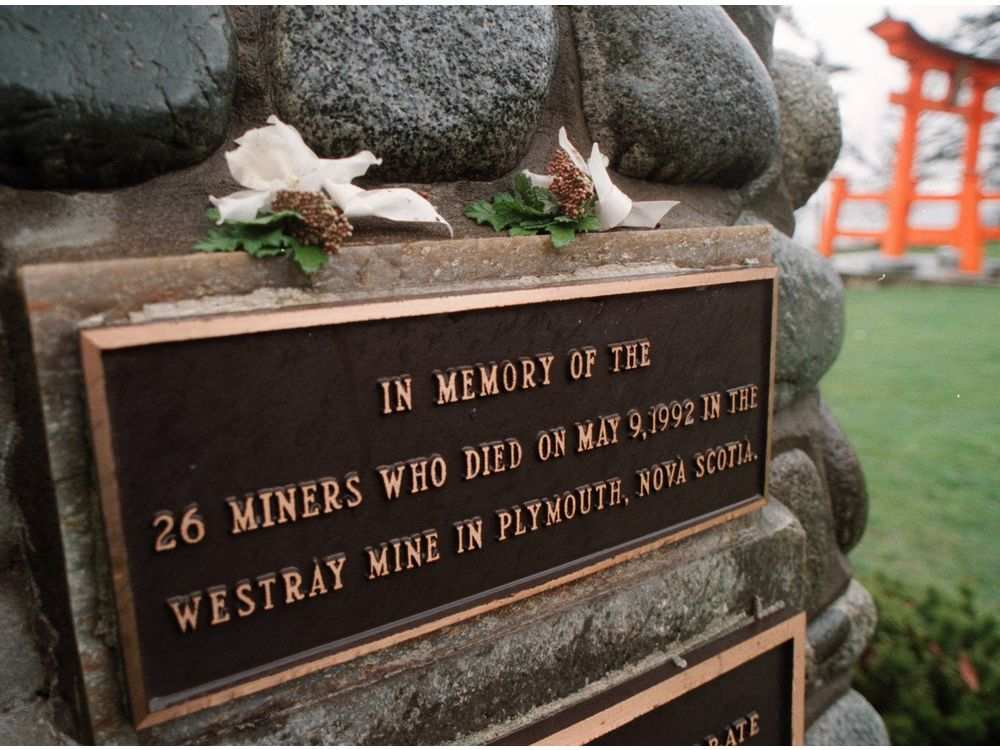 Two corsages placed on a cairn in Campbell River where two men died in the Quinsam Coal Mine accident. The cairn is a tribute to the men that died in the Westray mine accident in 1992.