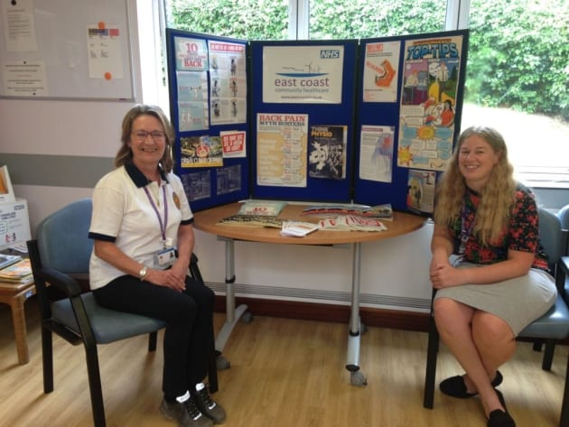 ECCH physiotherapy business support manager Rita Marjoram and Health, safety and tesilience support officer Alice Kirk man the Workout at Work stand at Beccles Hospital. Picture: ECCH